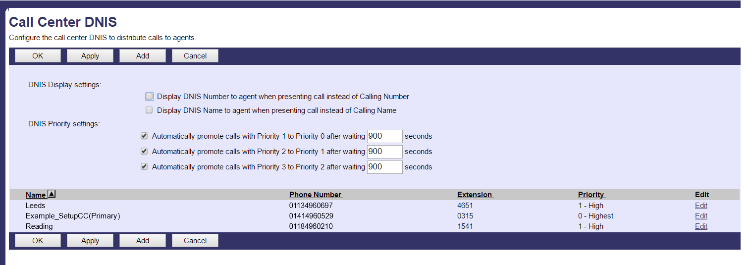 Call Centers settings